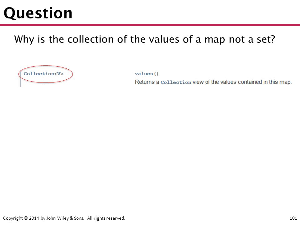 Question Why is the collection of the values of a map not a set