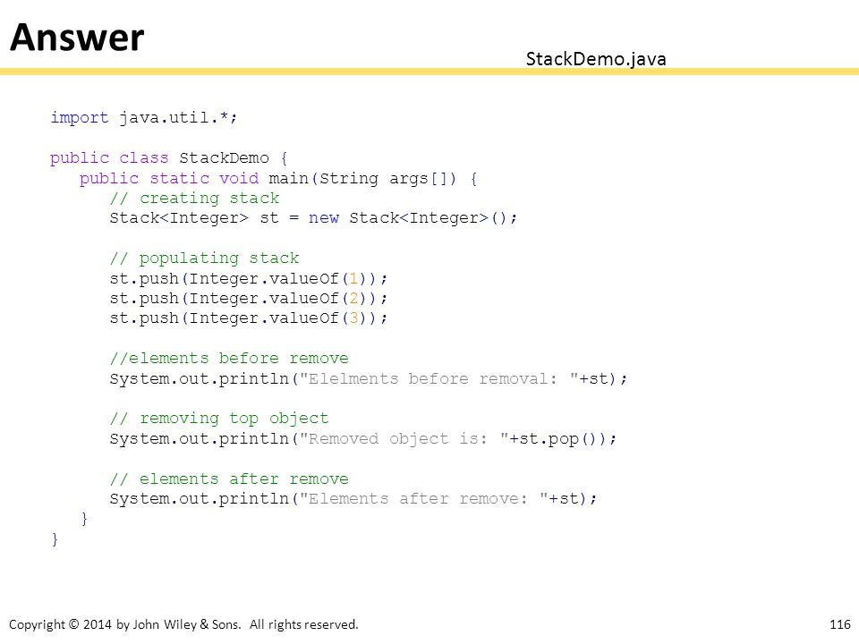 Answer StackDemo.java import java.util.*; public class StackDemo {