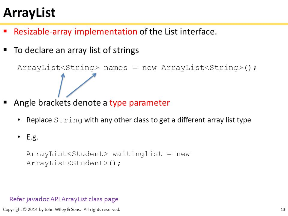 ArrayList Resizable-array implementation of the List interface.