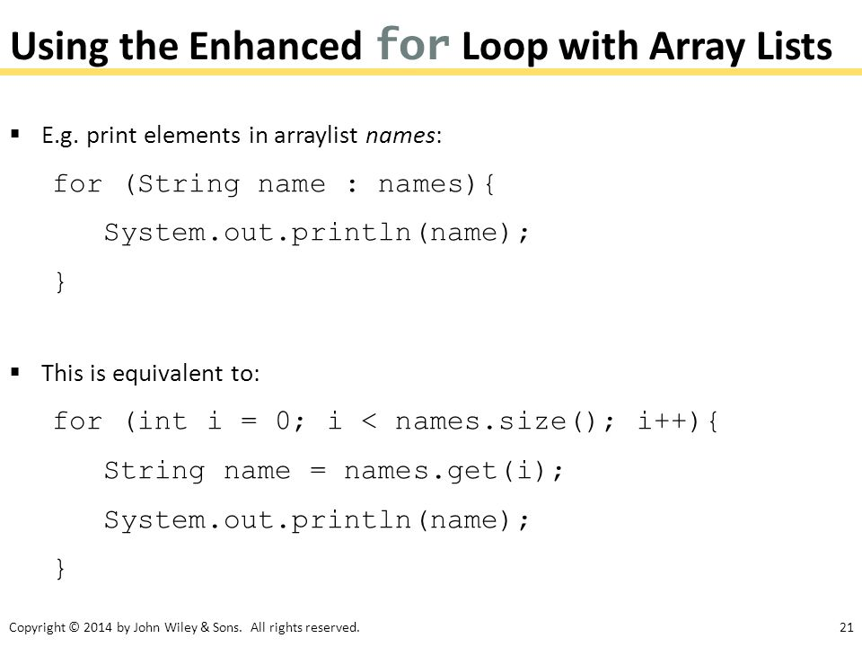 Using the Enhanced for Loop with Array Lists