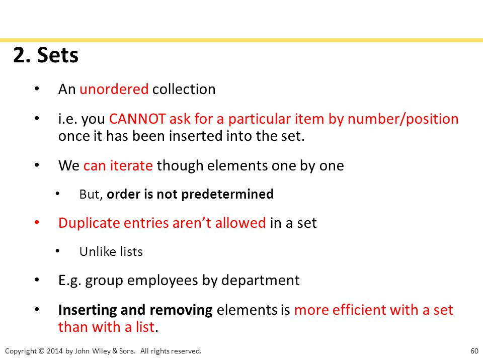 2. Sets An unordered collection