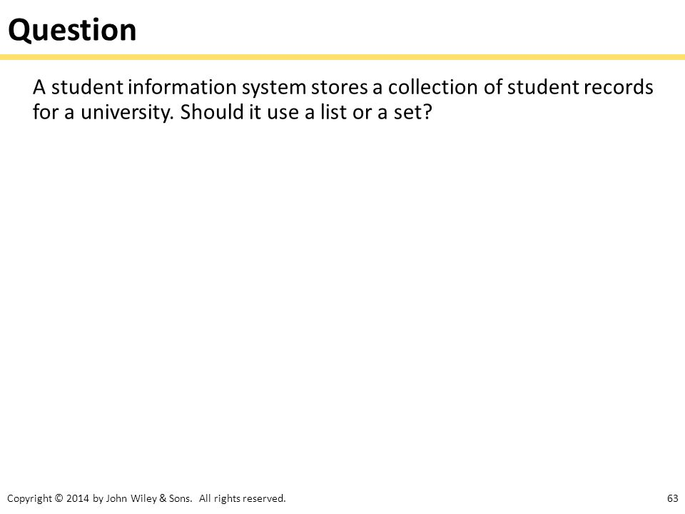 Question A student information system stores a collection of student records for a university.