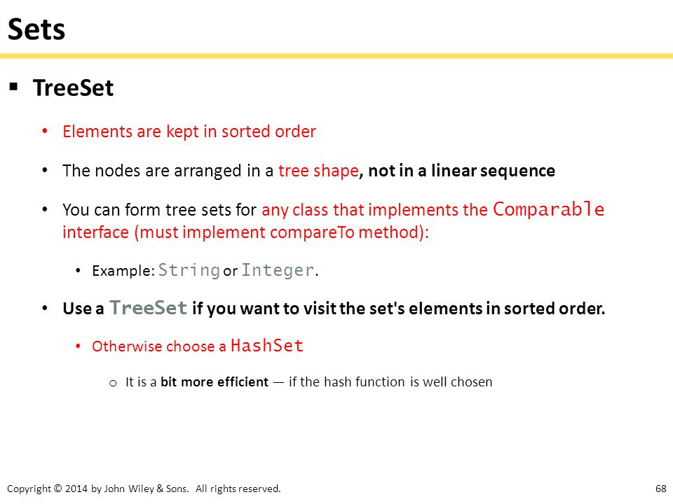Sets TreeSet Elements are kept in sorted order