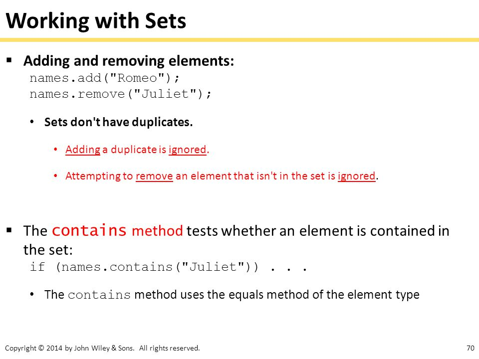 Working with Sets Adding and removing elements: