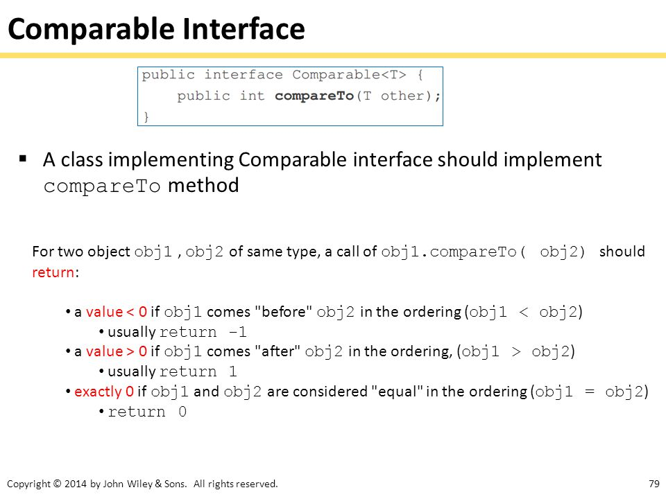 Comparable Interface A class implementing Comparable interface should implement compareTo method.