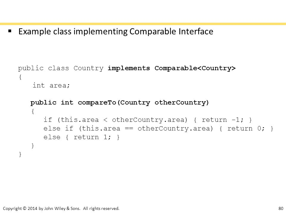 Example class implementing Comparable Interface
