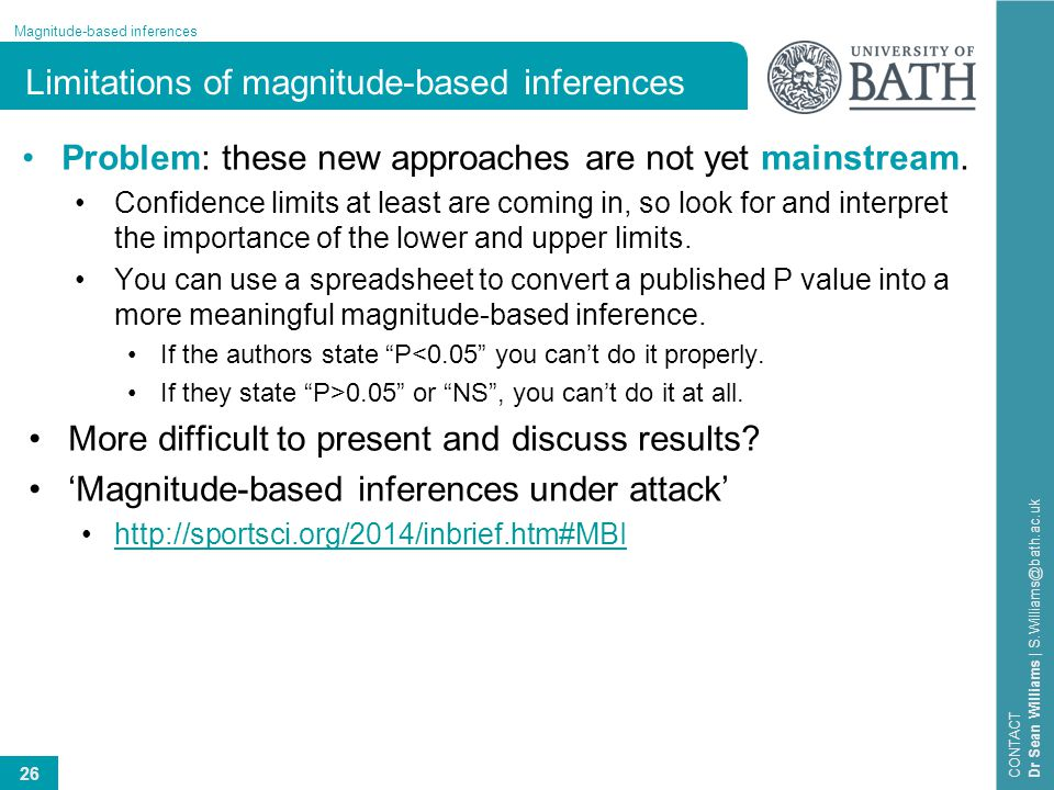 Limitations of magnitude-based inferences