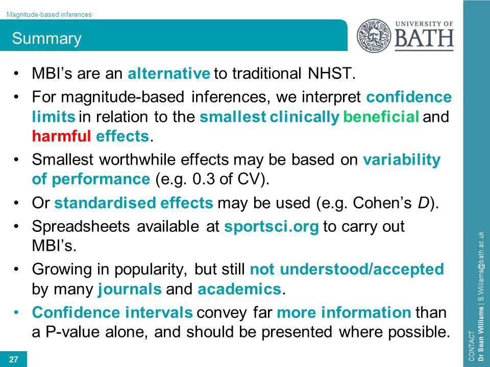 Summary MBI's are an alternative to traditional NHST.