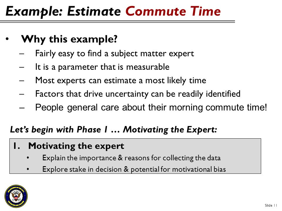 Example: Estimate Commute Time