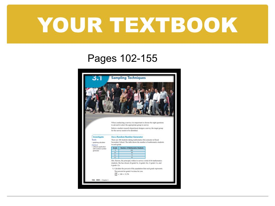 YOUR TEXTBOOK Pages 102-155