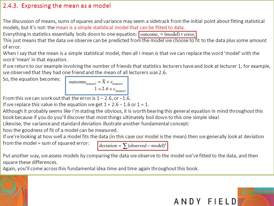 2.4.3. Expressing the mean as a model