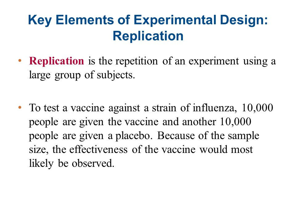 Key Elements of Experimental Design: Replication