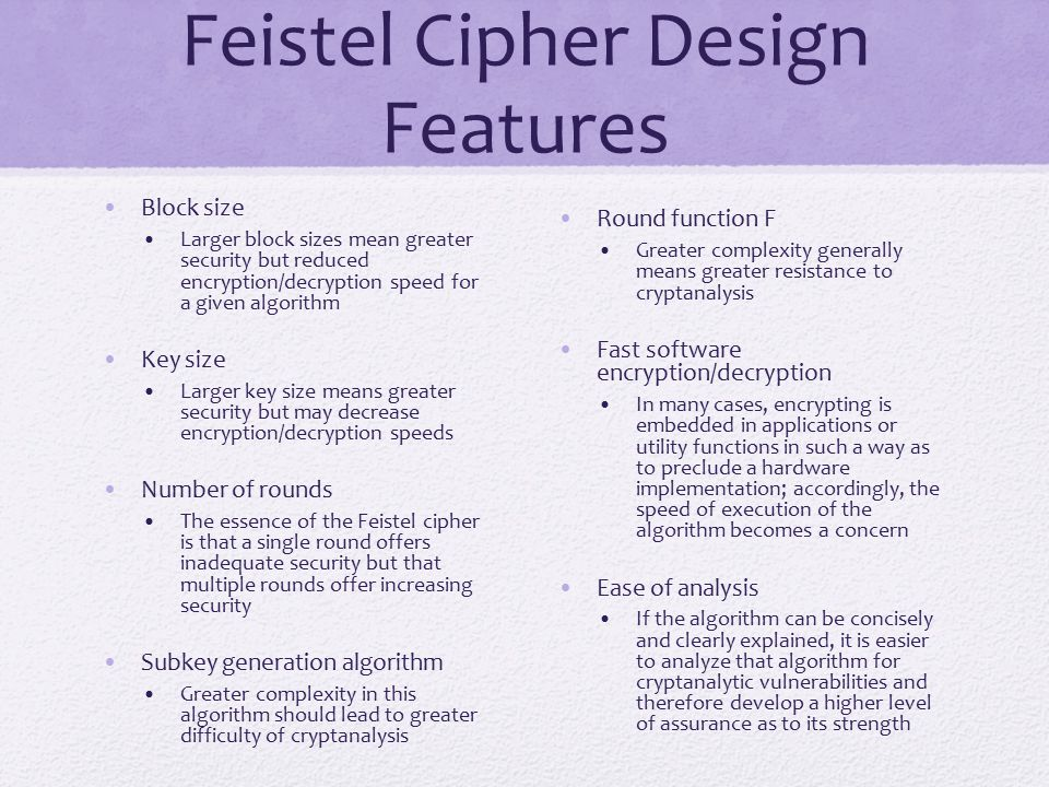 Feistel Cipher Design Features