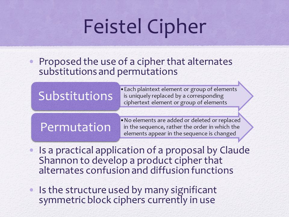 Feistel Cipher Proposed the use of a cipher that alternates substitutions and permutations.