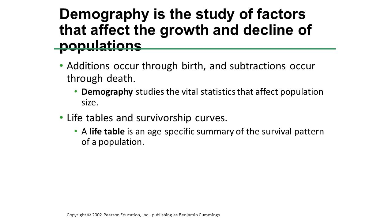 Demography is the study of factors that affect the growth and decline of populations