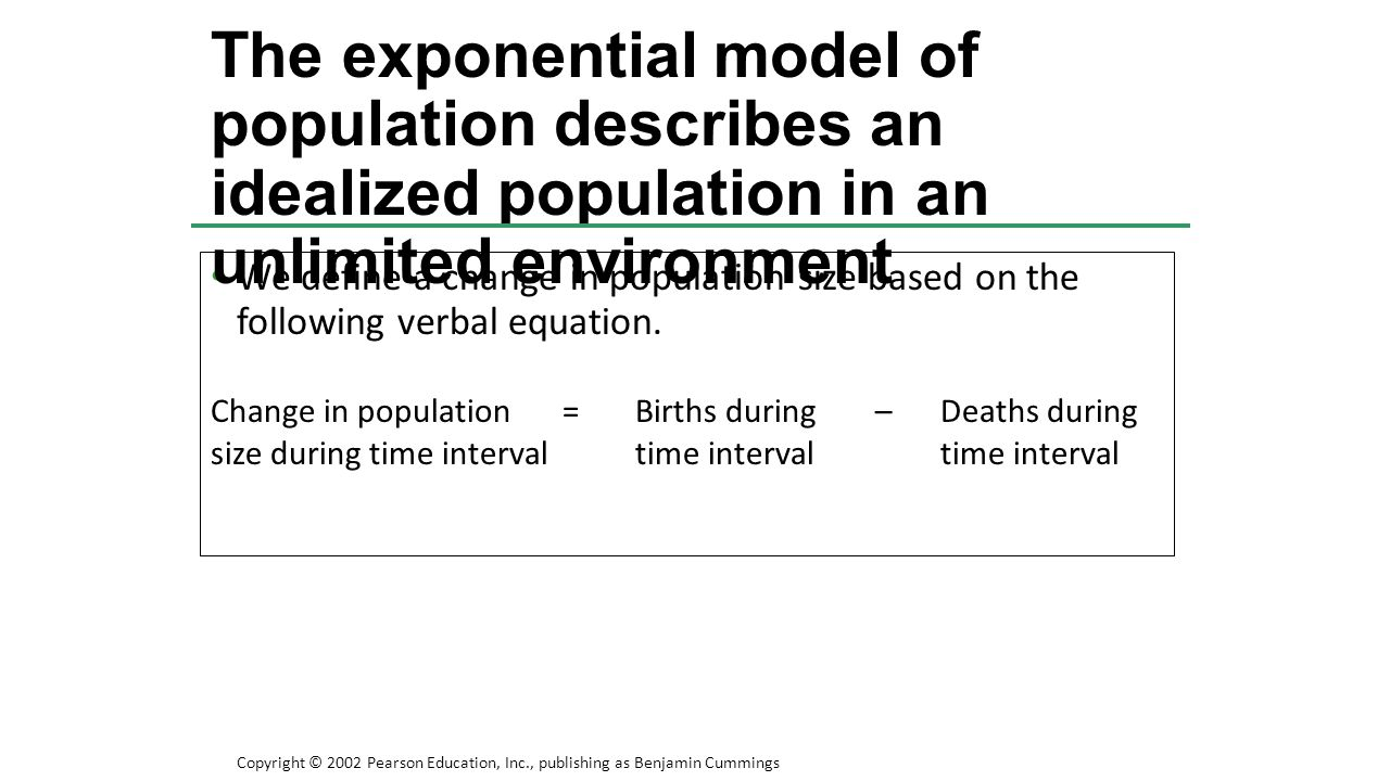 The exponential model of population describes an idealized population in an unlimited environment