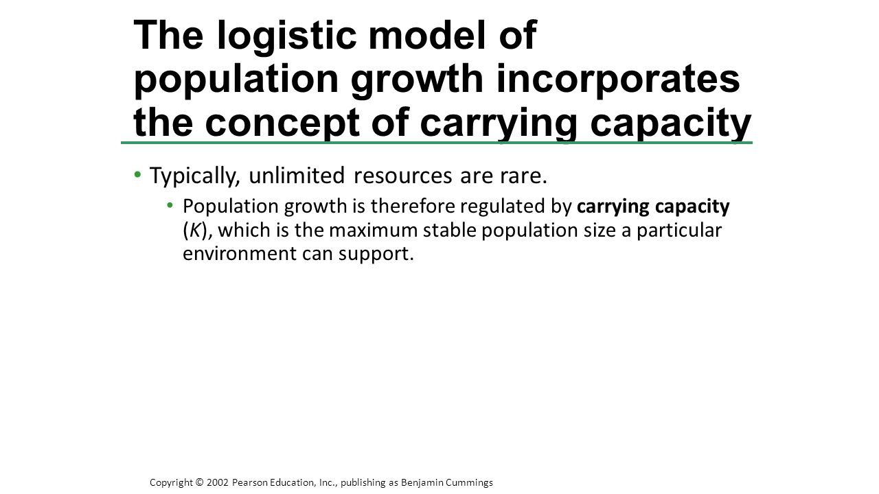 The logistic model of population growth incorporates the concept of carrying capacity