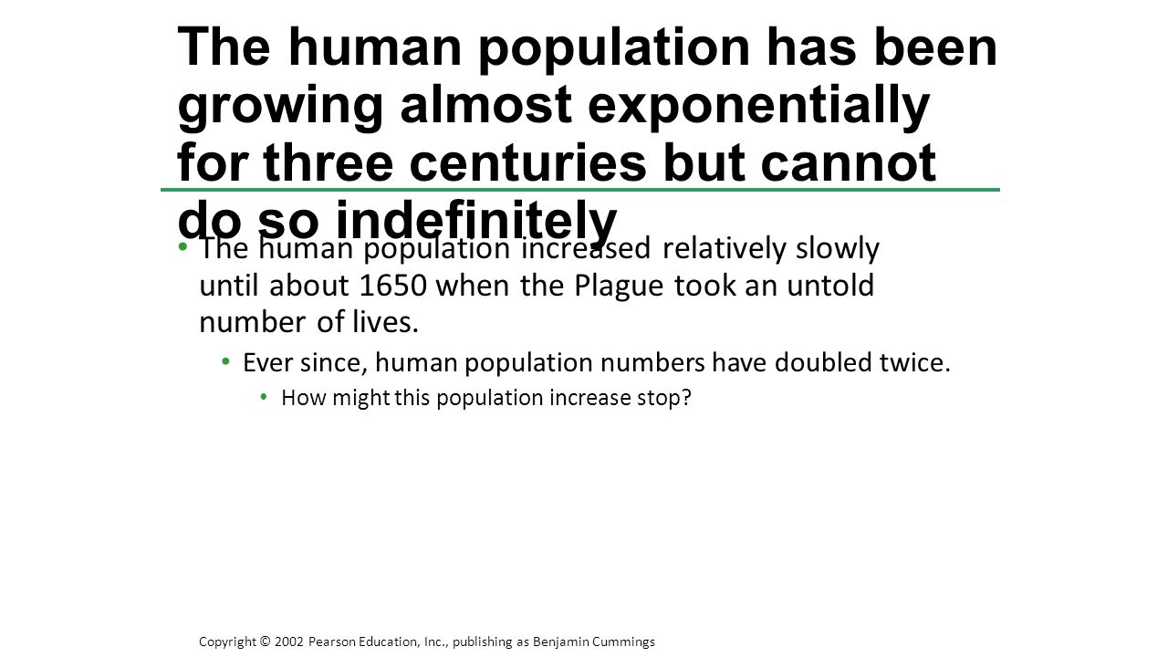 The human population has been growing almost exponentially for three centuries but cannot do so indefinitely