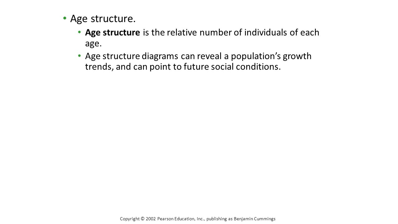 Age structure. Age structure is the relative number of individuals of each age.