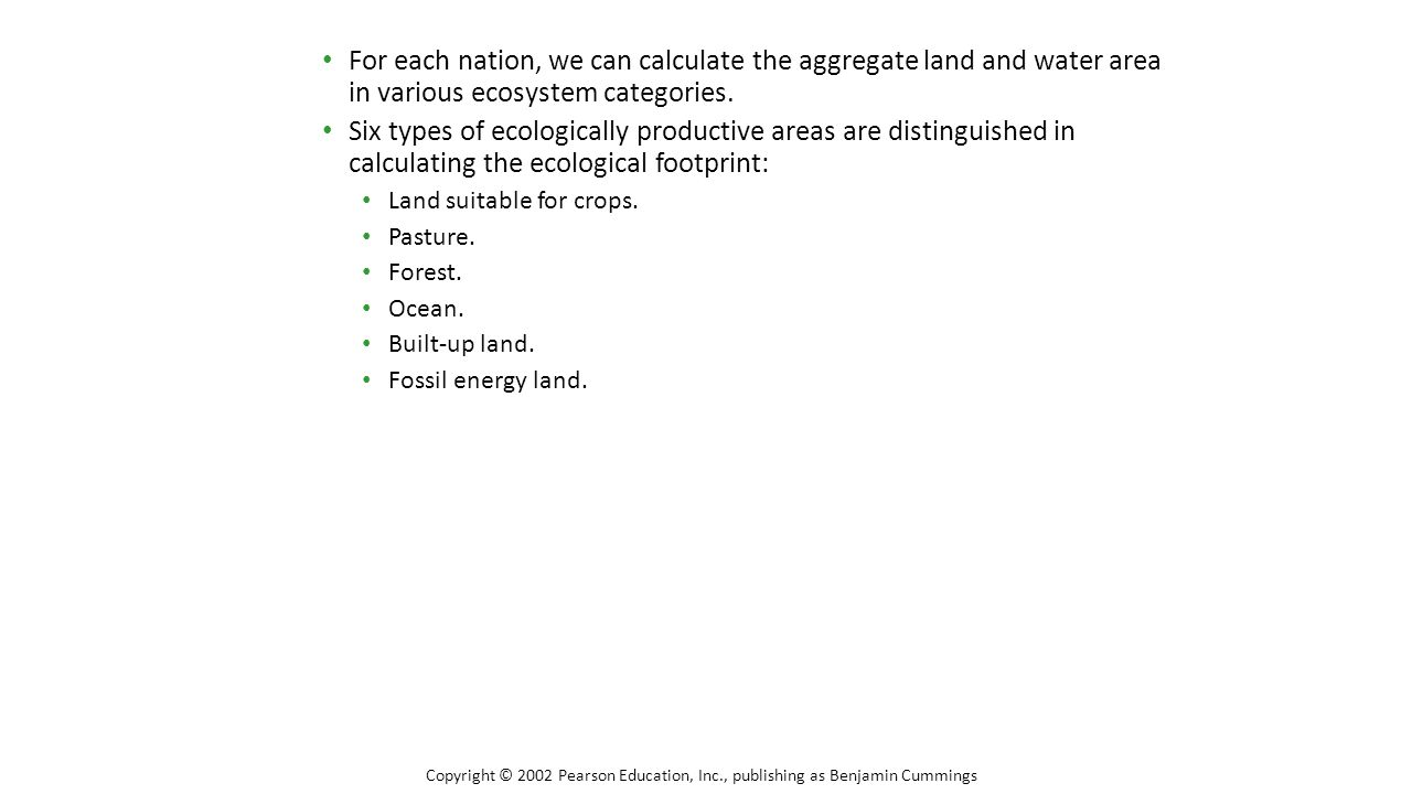 For each nation, we can calculate the aggregate land and water area in various ecosystem categories.
