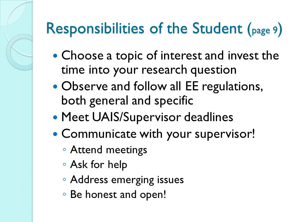 Responsibilities of the Student (page 9)