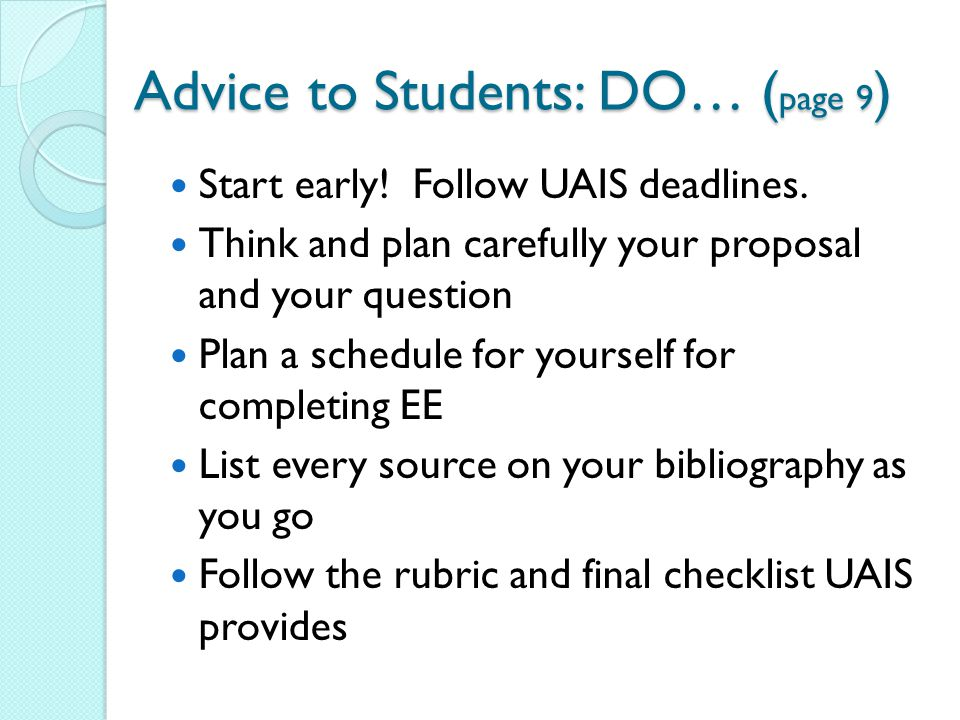 Advice to Students: DO… (page 9)
