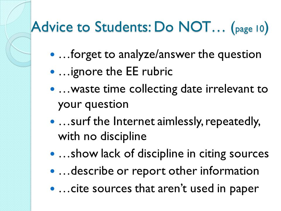 Advice to Students: Do NOT… (page 10)