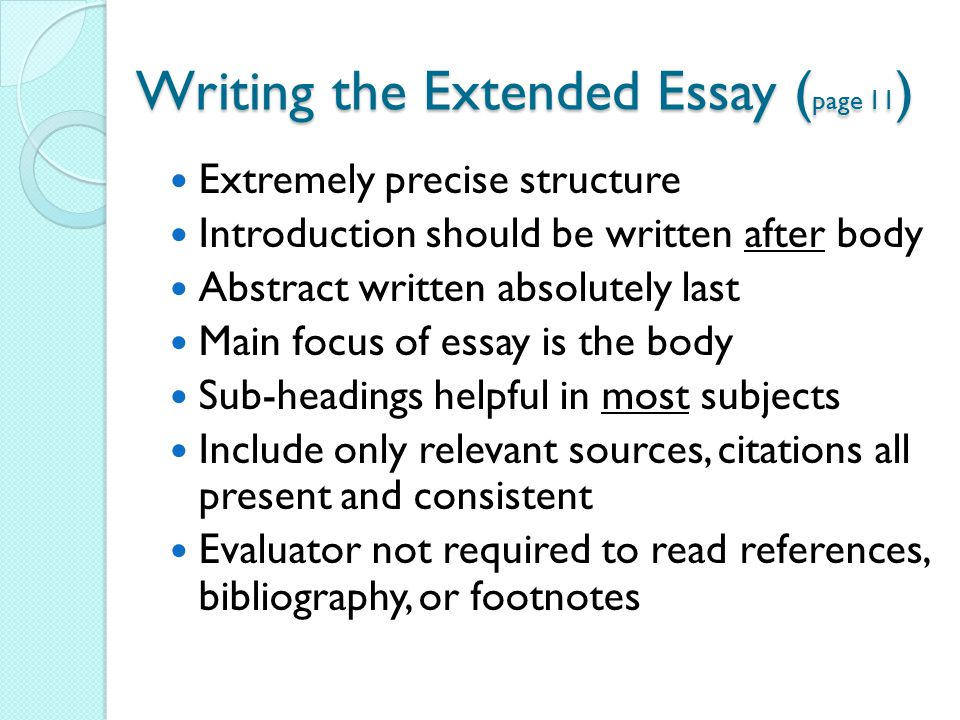 the extended essay What is the extended essay the extended essay is a required component of the international baccalaureate® (ib) diploma programme (dp) it is an independent, self.