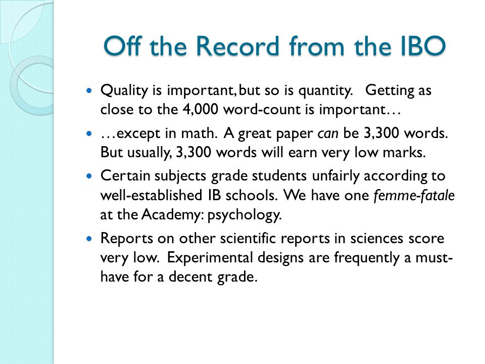 Off the Record from the IBO