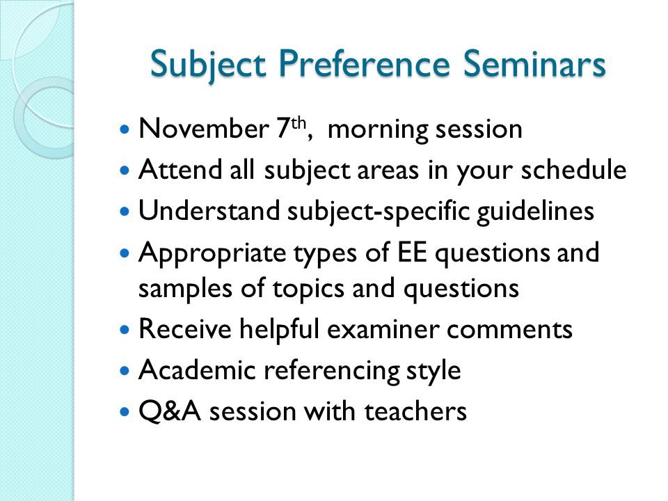 Subject Preference Seminars