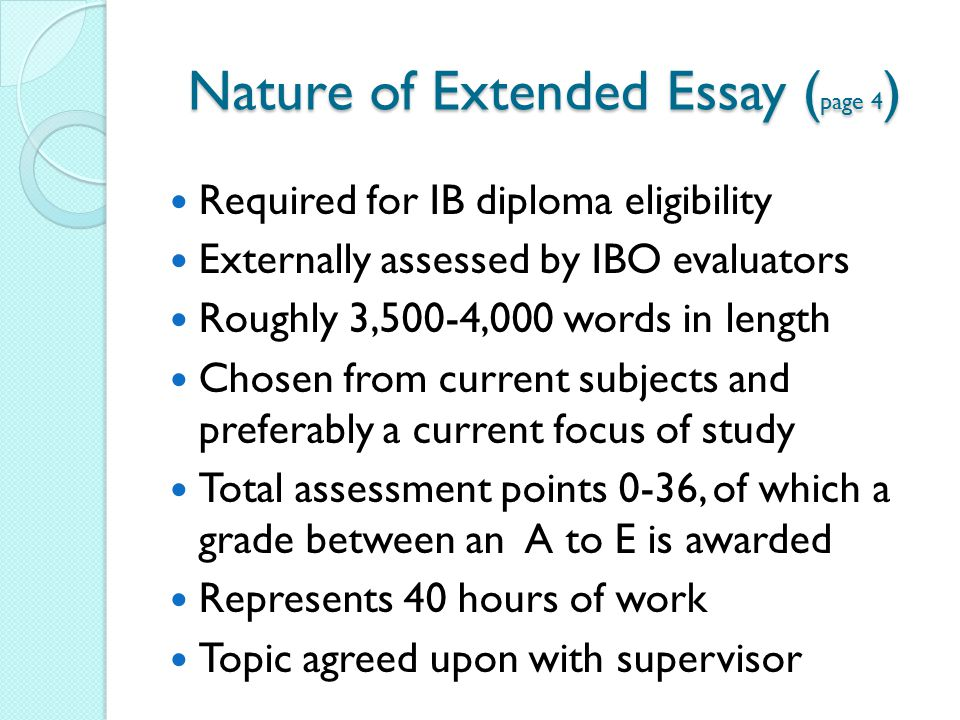 ib tok extended essay rubric The extended essay is an individual project of 4000 words it is a chance to study  a topic that interests you which is not covered by the syllabus it can cover any.