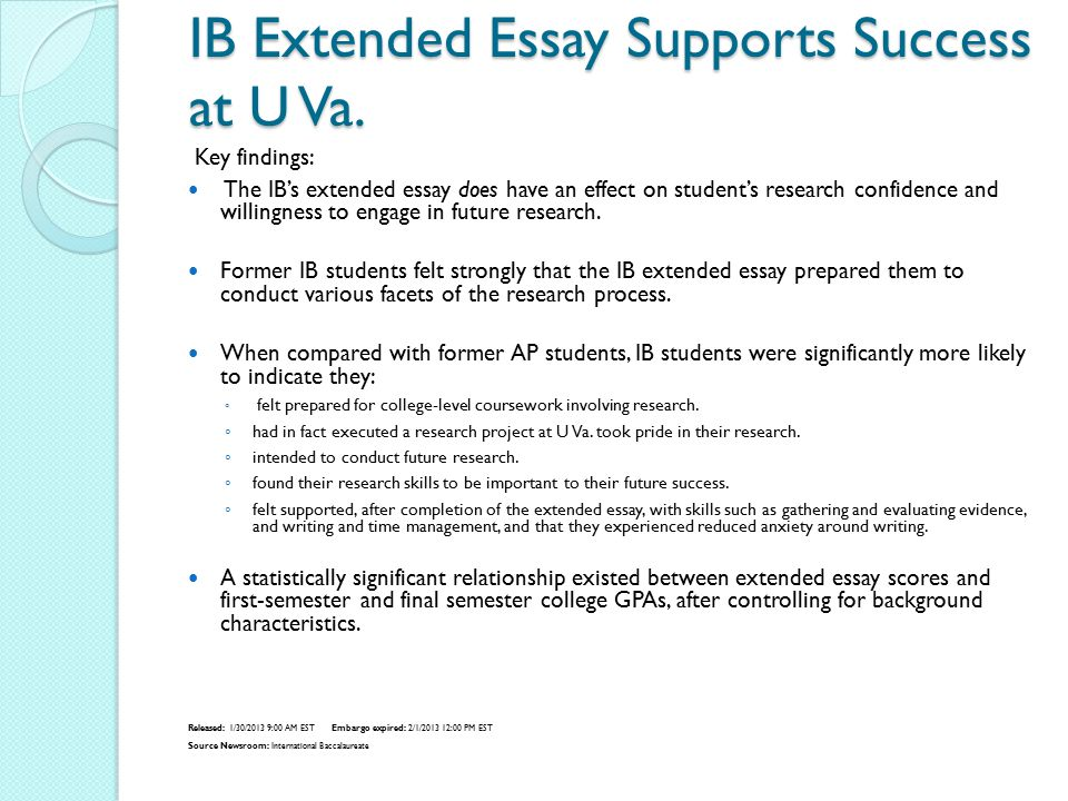 IB Extended Essay Supports Success at U Va.