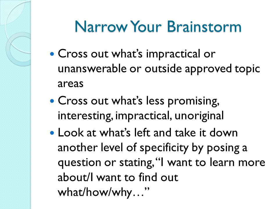 Narrow Your Brainstorm