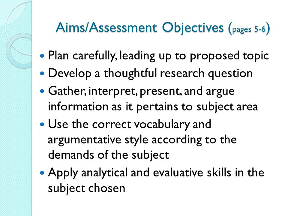 Aims/Assessment Objectives (pages 5-6)