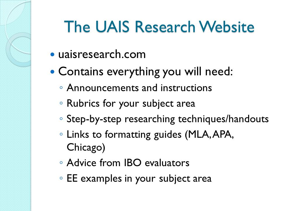 The UAIS Research Website