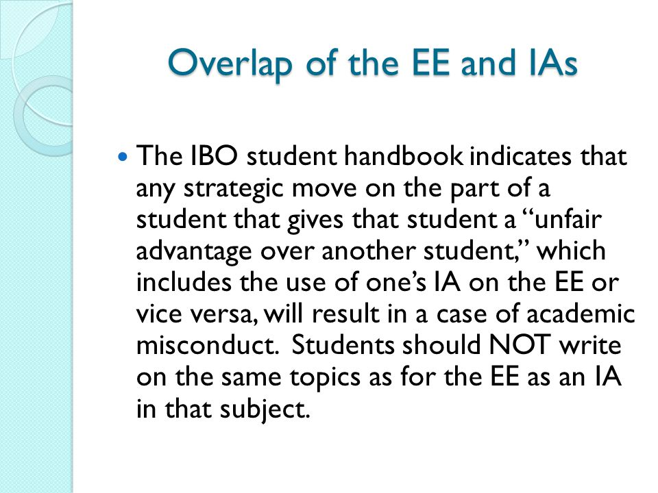 Overlap of the EE and IAs