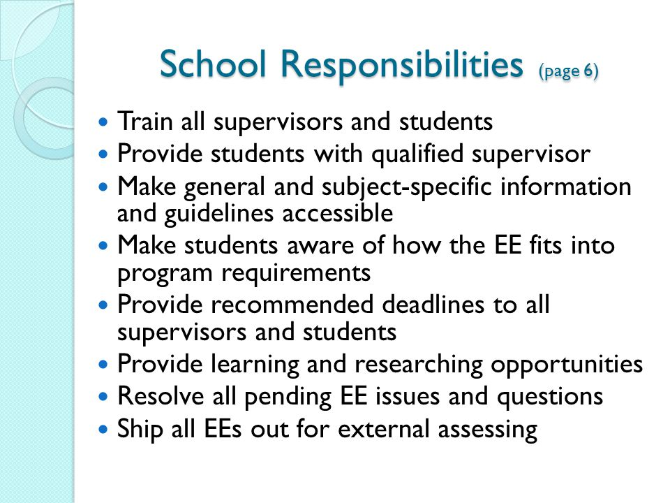 School Responsibilities (page 6)