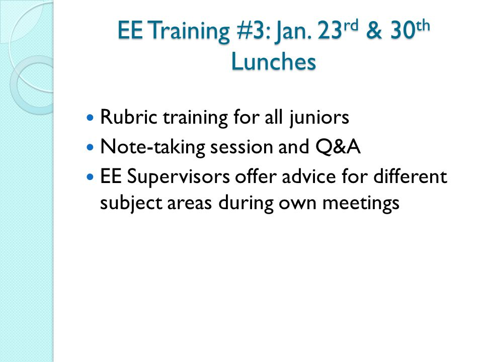EE Training #3: Jan. 23rd & 30th Lunches