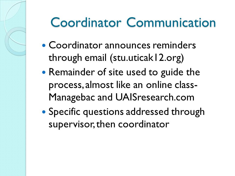 Coordinator Communication