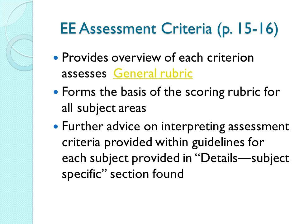 EE Assessment Criteria (p. 15-16)