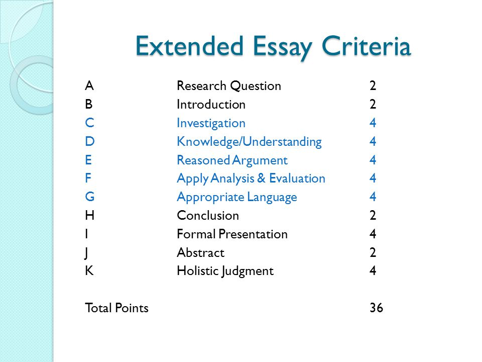 the appropriate criteria essay Why do instructors give essay exams you can justify your own evaluations based on appropriate criteria if you finish a half-hour essay in 10 minutes.