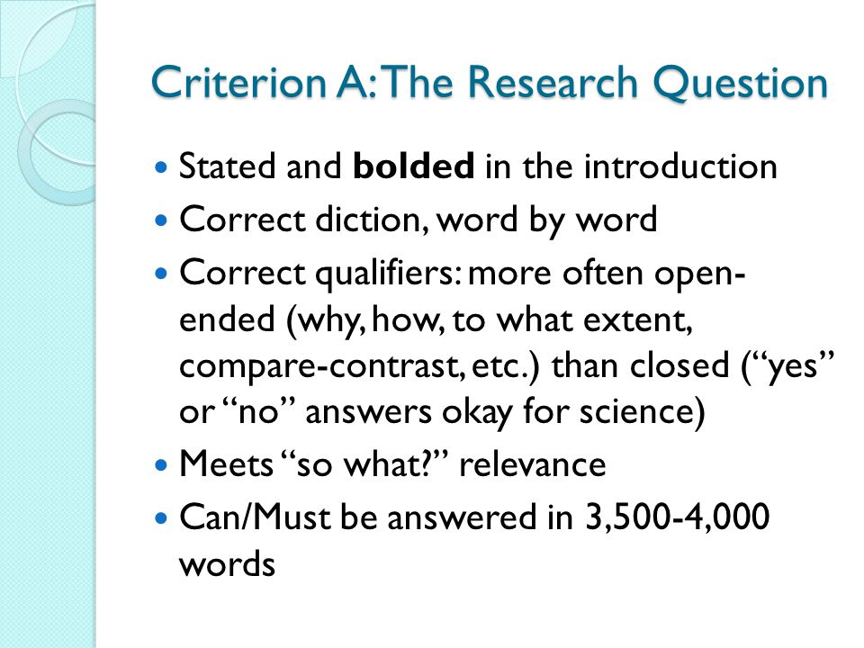 Criterion A: The Research Question