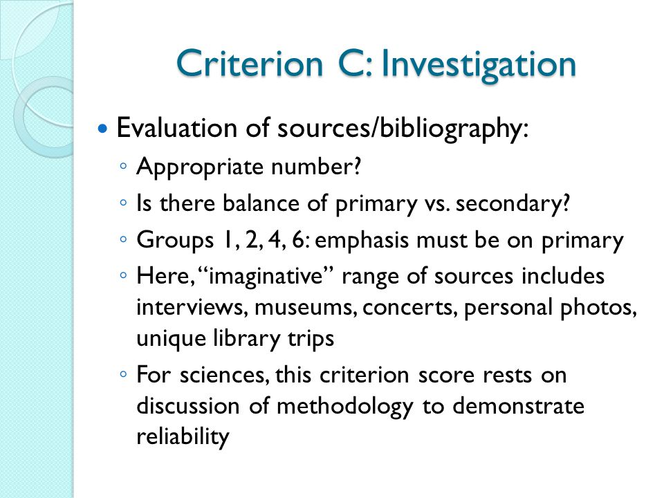 Criterion C: Investigation
