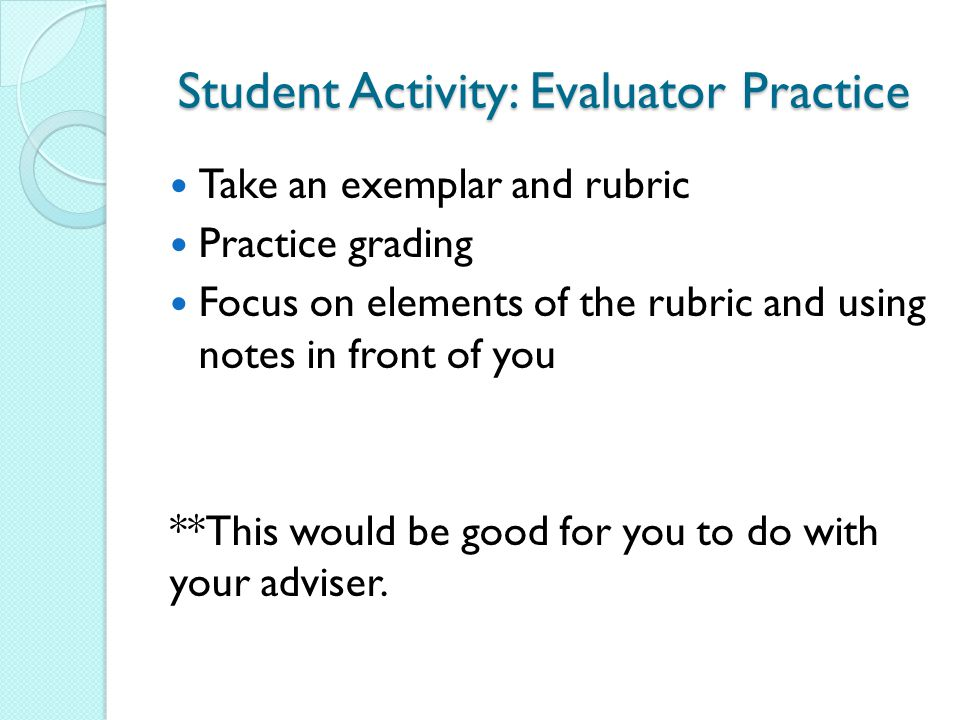 Student Activity: Evaluator Practice