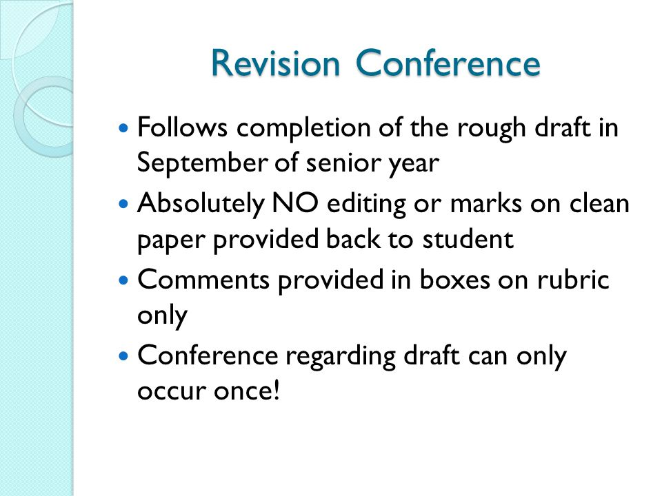 Revision Conference Follows completion of the rough draft in September of senior year.