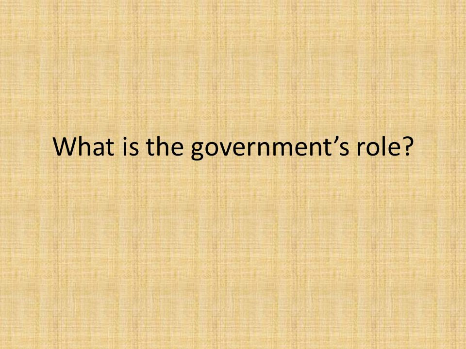 What is the government's role