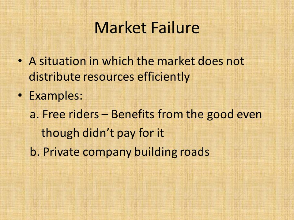 Market Failure A situation in which the market does not distribute resources efficiently. Examples:
