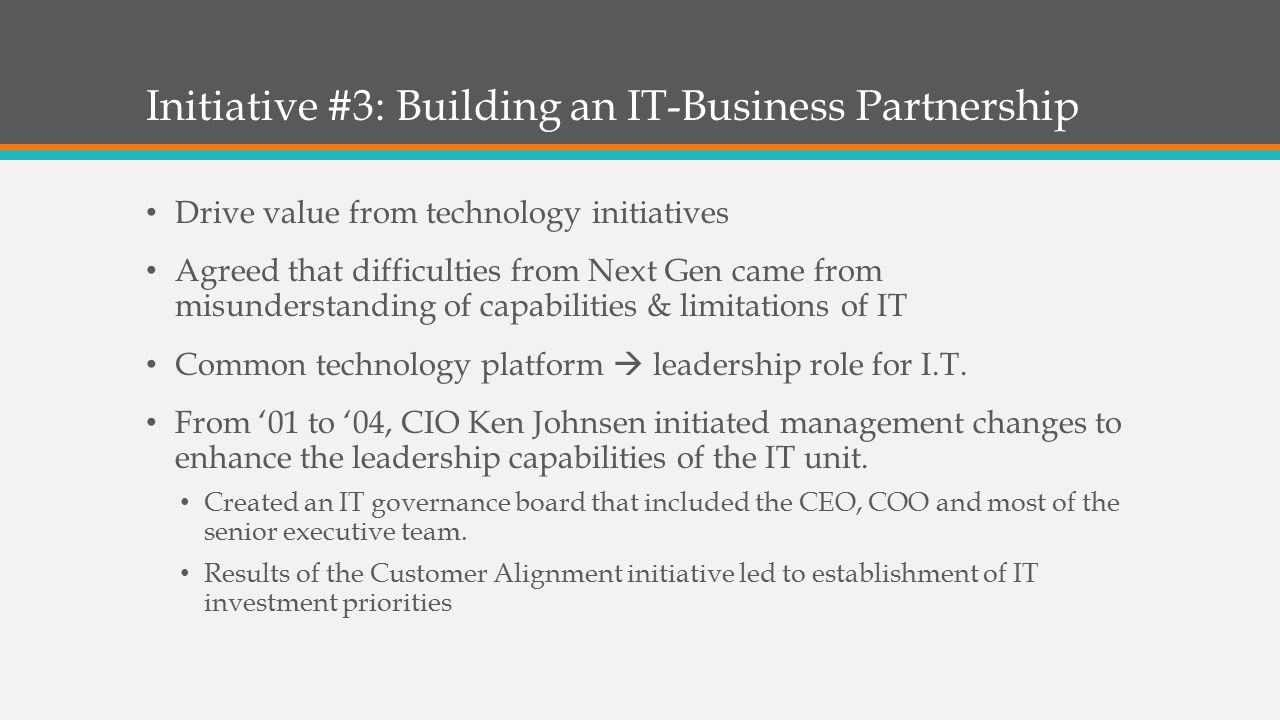 Initiative #3: Building an IT-Business Partnership