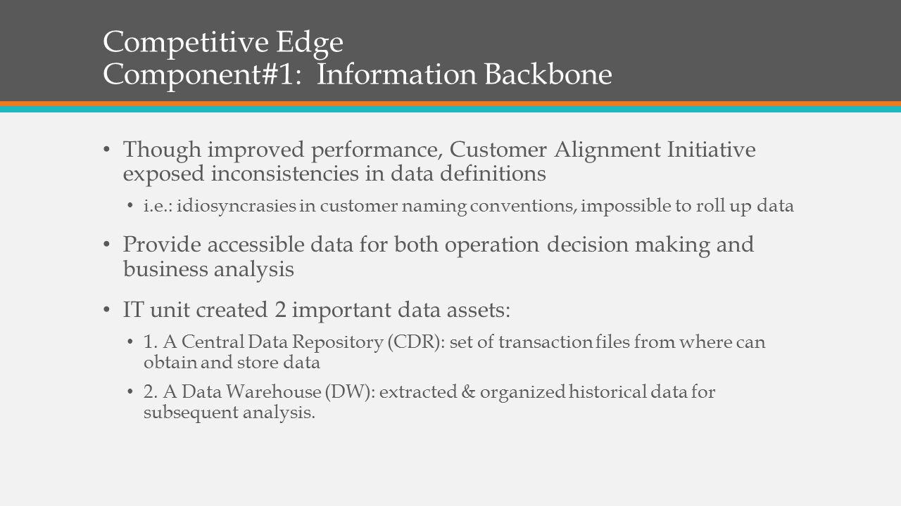 Competitive Edge Component#1: Information Backbone