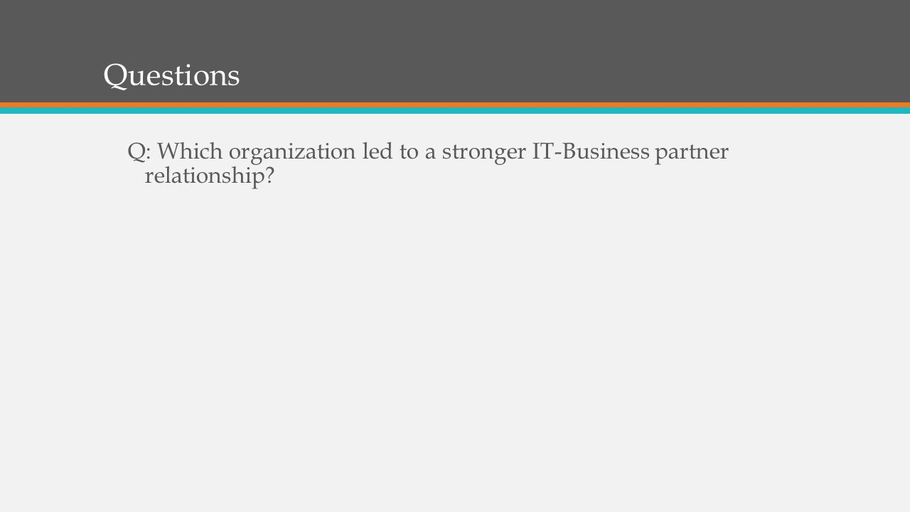 Questions Q: Which organization led to a stronger IT-Business partner relationship